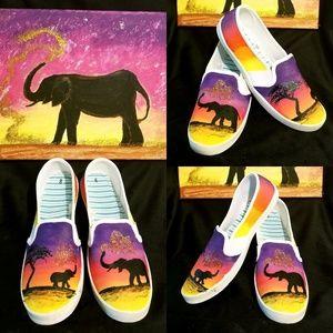 Shoes - Handpainted Elephant Shoes